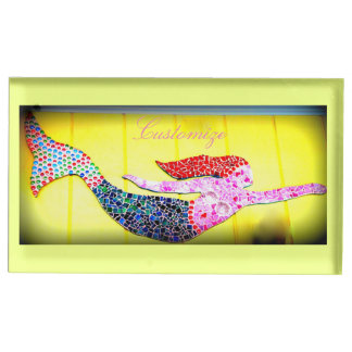 pink mosaic mermaid swimming table number holder