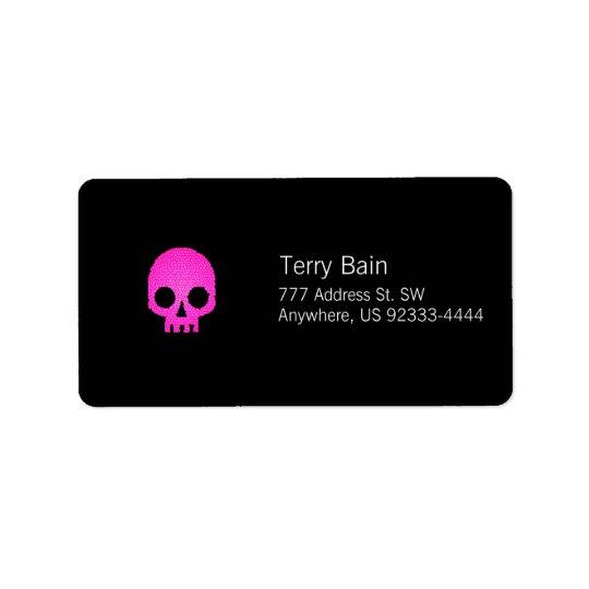 Pink Mosaic Skull Address Label