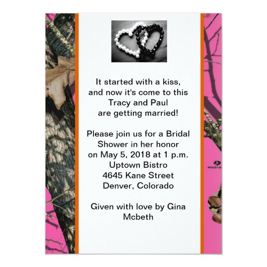 Pink Mossy Oak Bridal Shower Invitation