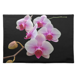 Pink Moth Orchids on Black - Phalaenopsis Placemat