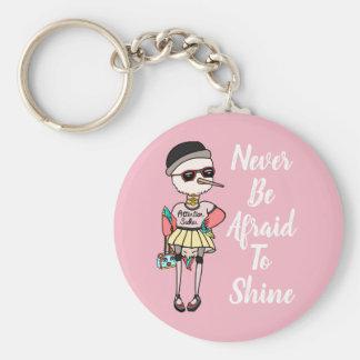 "Pink Motivational Funky Bird Key Ring ""Shine!"""