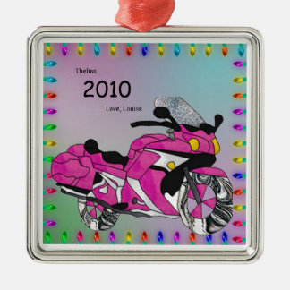 Pink Motorcycle in Stained Glass Metal Ornament