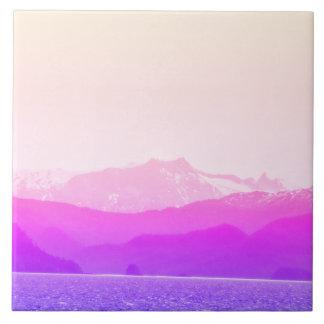 Pink Mountains Photo Tile