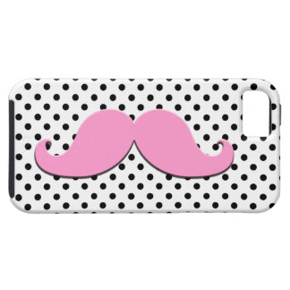 Pink Moustache Black Polka Dots iPhone 5 Cases