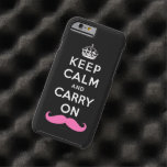 Pink Moustache Keep Calm and Carry On