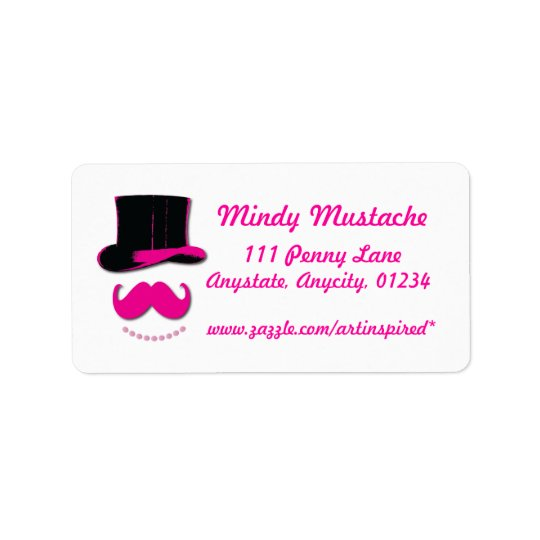 Pink Moustache, top hat, and pearls label Address Label
