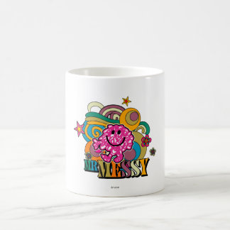 Pink Mr. Messy | Colorful Swirls & Stars Basic White Mug