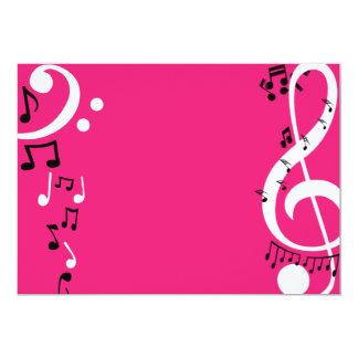 Pink music invitations