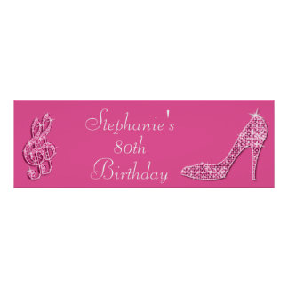 Pink Music Note and Stiletto 80th Birthday Print