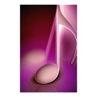 Pink music note personalized stationery