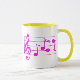 Pink music notes mug