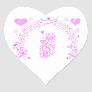 Pink,Music notes of Love_ Heart Stickers