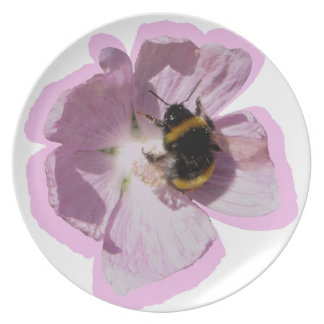 Pink Musk Mallow Flower and bee collecting pollen Plate