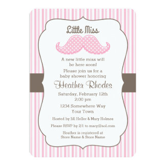 Pink Mustache Little Miss Baby Shower Card