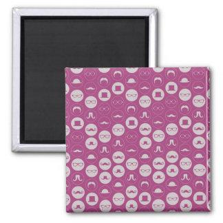 Pink Mustache Pattern Fridge Magnets