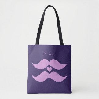 Pink Mustaches custom monogram bags