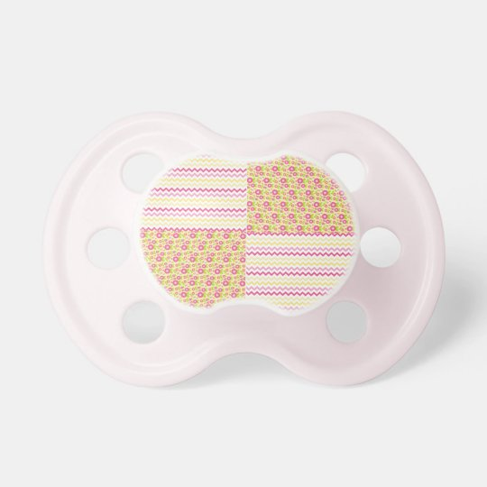 Pink n Green Country Chevron and Floral Chequered Pacifiers
