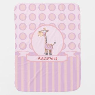 Pink-n-Orange Giraffe Baby Blanket