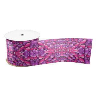 "Pink n Purple Kaleidoscope     Ribbon. 1.5"" or 3"" Satin Ribbon"