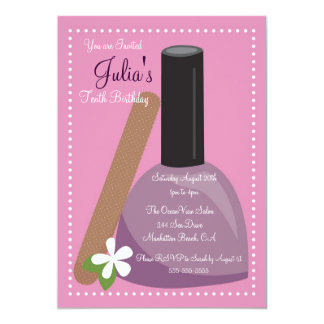 Pink Nail Polish Birthday Invite