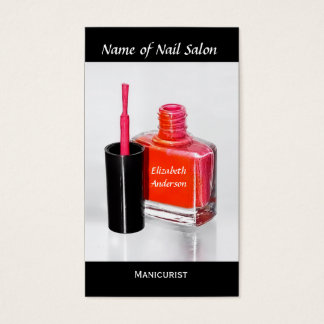 Pink Nail Polish Manicurist at Nail Salon Business Card