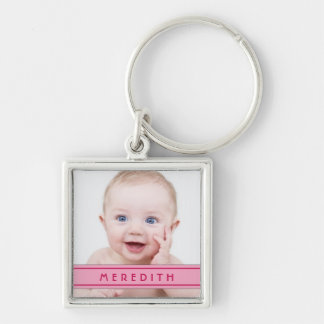 Pink Name Baby Photo Template Keychain