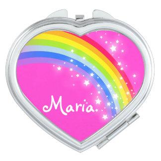 Pink name rainbow heart mirror compact travel mirror