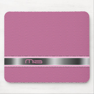 Pink Named Waves Mouse Pad
