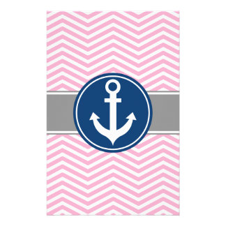 Pink Nautical Anchor Chevron Stationery