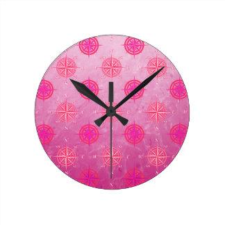 Pink Nautical Compass Rose Wallclock