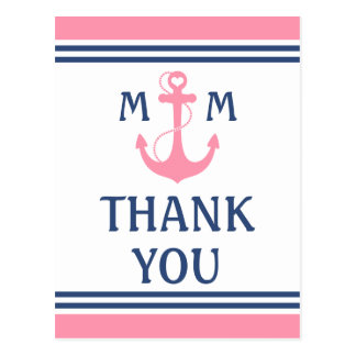 Pink Nautical Heart Anchor Thank You Postcard