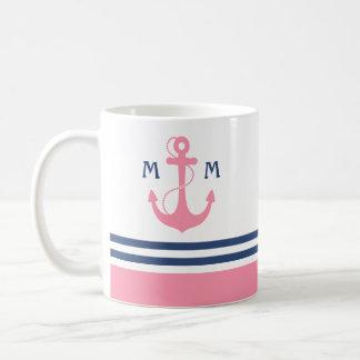 Pink Nautical Monogram Coffee Mug