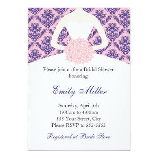"Pink Navy Blue Damask Invitation 5"" X 7"" Invitation Card"