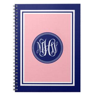 Pink Navy Blue Framed Preppy Vine Monogram #1 Spiral Note Book