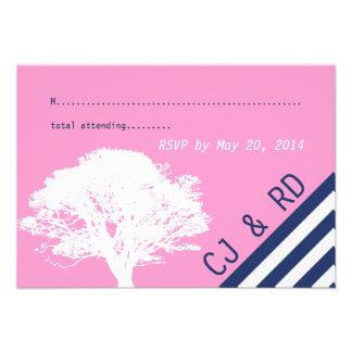 Pink Navy Blue Initial Modern Wedding RSVP Card