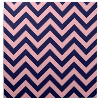 Pink, Navy Blue Large Chevron ZigZag Pattern Printed Napkins