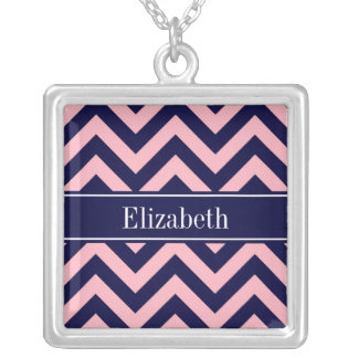 Pink Navy Blue LG Chevron Navy Name Monogram Personalized Necklace
