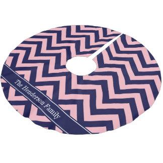 Pink, Navy Blue LG Chevron Navy Name Monogram Brushed Polyester Tree Skirt