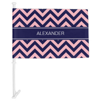 Pink, Navy Blue LG Chevron Navy Name Monogram Car Flag