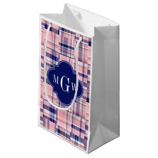 Pink, Navy Blue Preppy Patchwork Madras Monogram Small Gift Bag