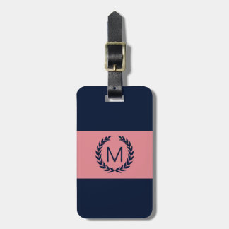 Pink & Navy Blue Stripe Laurel Wreath Monogram Luggage Tag