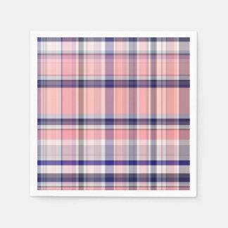 Pink Navy Blue White Preppy Madras Plaid Disposable Serviette