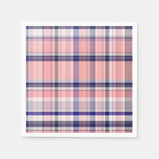 Pink Navy Blue White Preppy Madras Plaid Paper Napkins