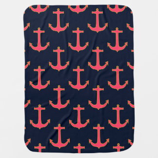 Pink Navy Gold Nautical Anchor Baby Blanket