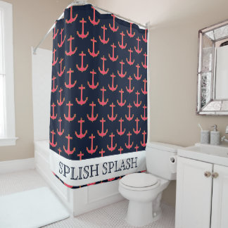 Pink Navy Gold Nautical Anchor Shower Curtain