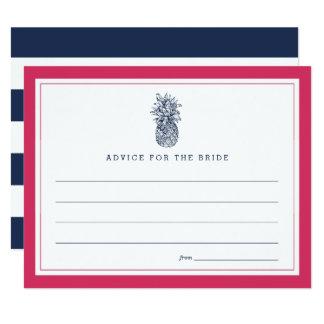 Pink & Navy Pineapple Bridal Shower Advice 11 Cm X 14 Cm Invitation Card