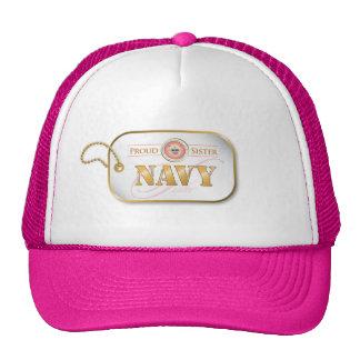 Pink Navy Sister Dog tag Hats