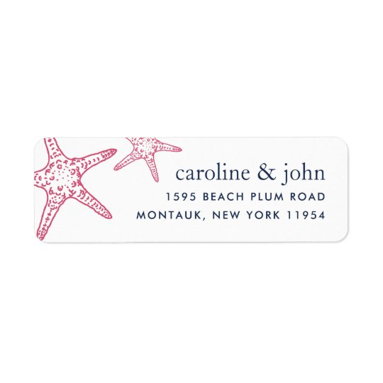 Pink & Navy Starfish Return Address Return Address Label