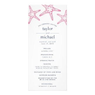 Pink & Navy Starfish Wedding Ceremony Program Rack Card