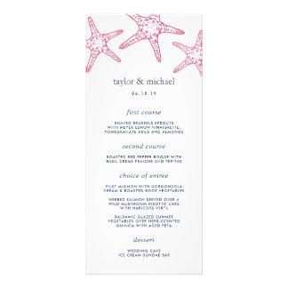 Pink & Navy Starfish Wedding Menu Card